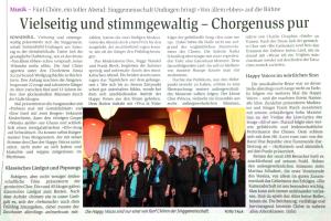 Zeitungsbericht Konzert Mai 2018